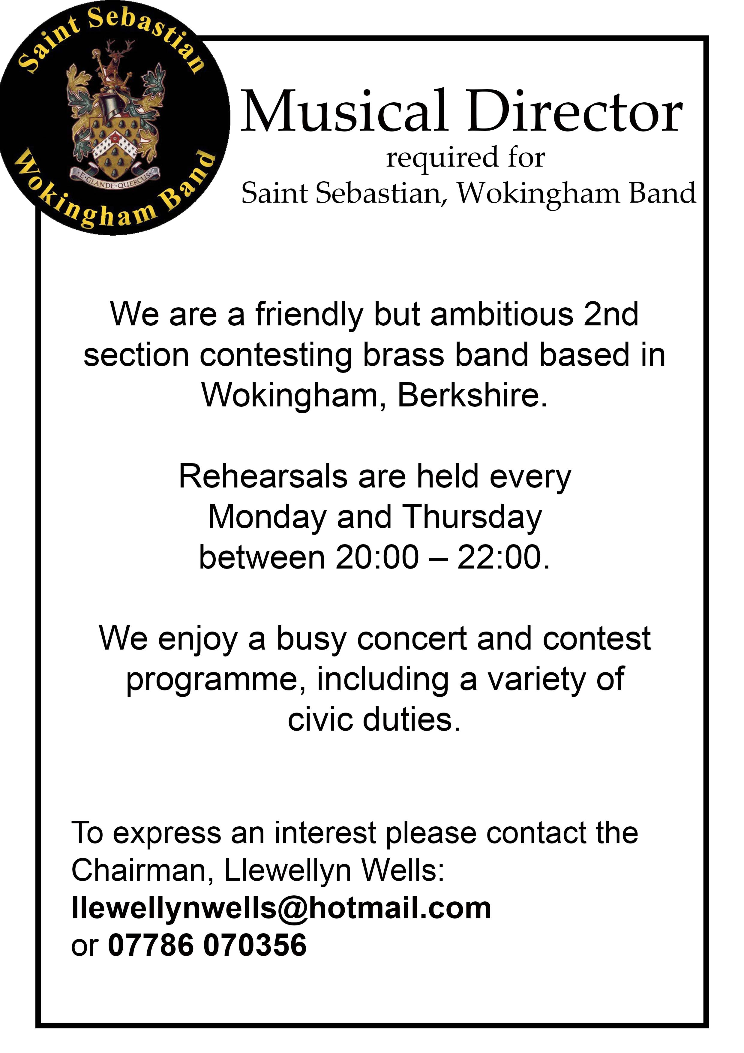 Saint Sebastian are looking for a new Musical Director